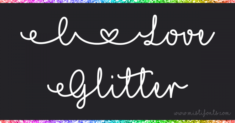 Download Dutch SVG Designs: I love Glitter script font