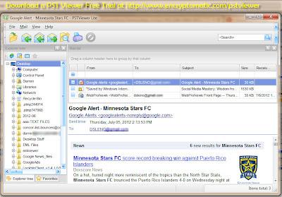PstViewer Lite software screen.