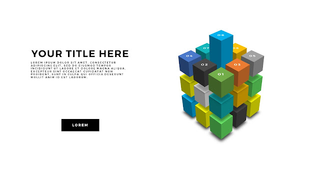 Useful 3D Cube Design Elements for PowerPoint Template with Outstanding One