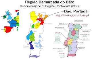 The Região Demarcada do Dão wine map in Portugal