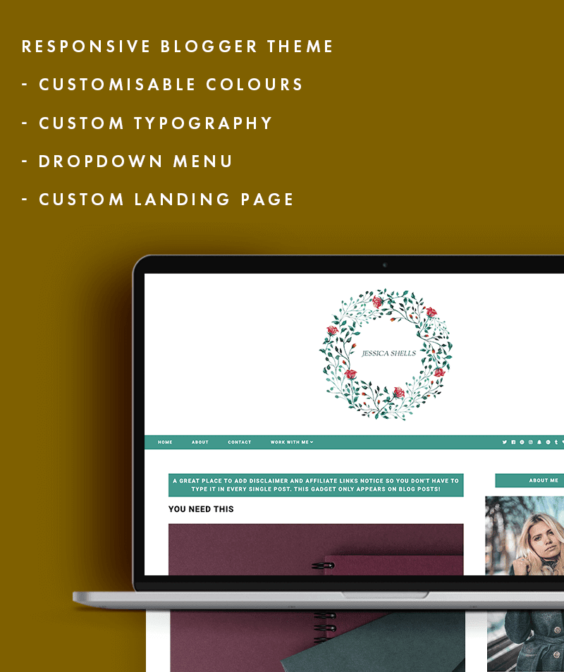 features of Jessica Shells blogger theme