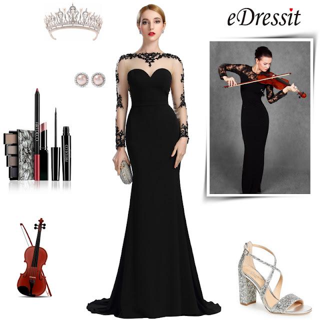 Black Lace Appliques Beaded Mermaid Prom Dress