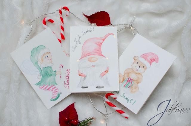 Ręcznie malowane kartki świąteczne