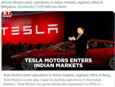 Tesla Motors Enters Indian Market - Rupeedesk Reports