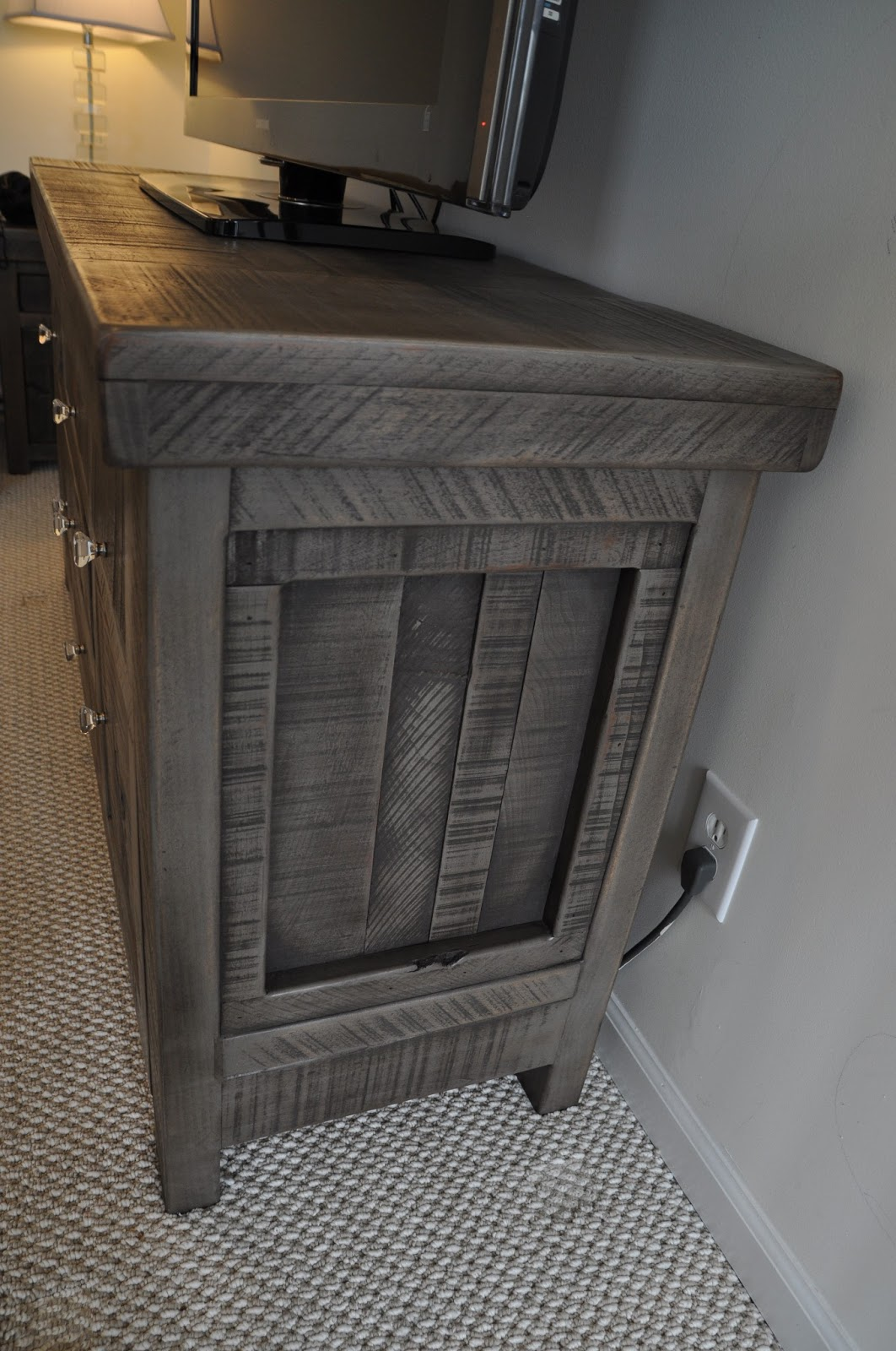 Rustic Gray Sofa Table Custom Made Beds Uk Entertainment Console Buffet Tv