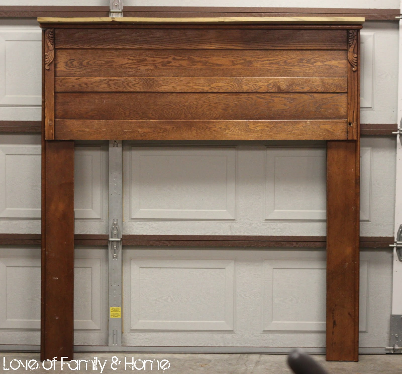 Footboard turned Faux Fireplace Mantel... - Love of Family ...