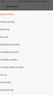 Pilih LTE/CDMA Auto atau untuk SIM 1.