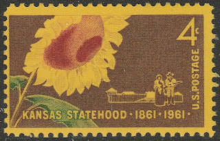 US Statehood Kansas 4c single 1961