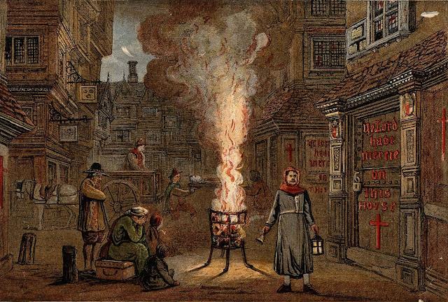 На улицах Лондона во время Великой чумы. 1665 год