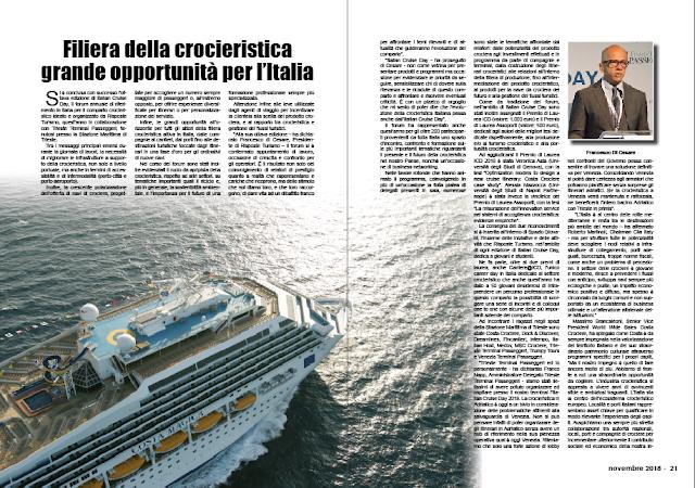 NOVEMBRE 2018 PAG. 20 - Filiera della crocieristica grande opportunità per l'Italia