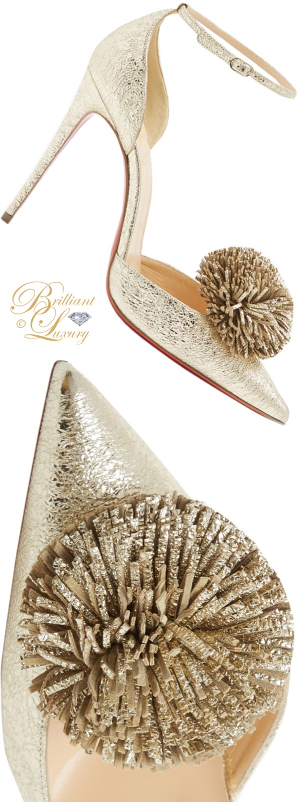 Brilliant Luxury ♦ Christian Louboutin Tsarou pompom leather pumps