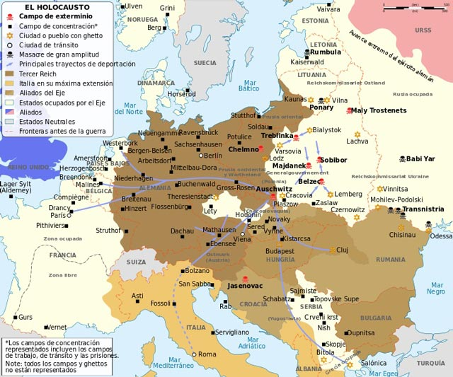 Map of German concentration camps of World War II worldwartwo.filminspector.com