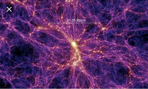 Simulation of expected cosmic web filaments of dark matter forming after the big bang (Source: Wikipedia)