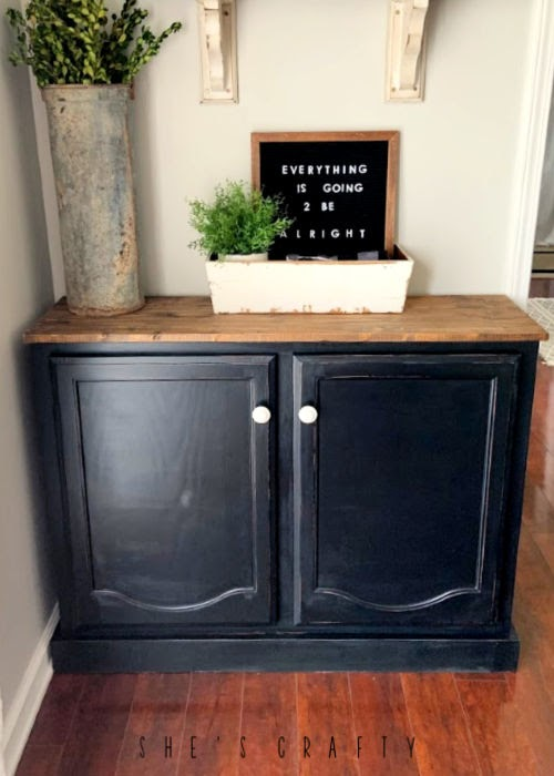 DIY sideboard from kitchen cabinets - black painted cabinet, buffet table, sideboard