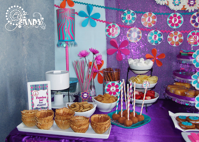 peace party dessert table ideas, fondue bar, daisy decor