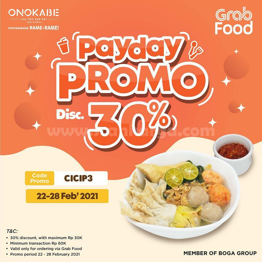 ONOKABE Promo PAYDAY! Spesial DISKON 30% via GRABFOOD