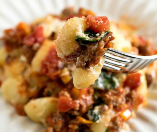 Baked Gnocchi With Italian Sausage, Grape Tomatoes, And Mozzarella