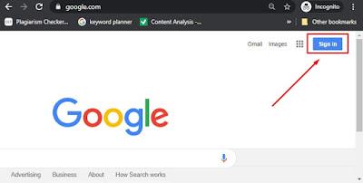 Buka www.google.com. Temukan dan pilih tombol Sign in di sudut kanan atas halaman