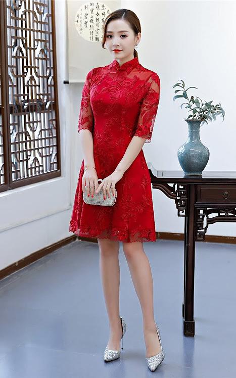 Elegant Lace Cheongsam Dresses