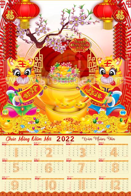 Bìa lịch đẹp Lịch 2022 vector, download bộ số lịch 2022