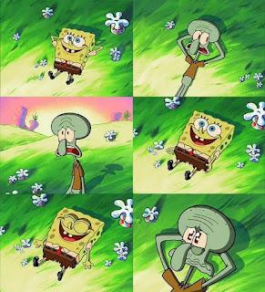 Polosan meme spongebob dan patrick 140 - hari terakhir squidward bersama spongebob karena spongebob memakan kue pie bom / kue pai