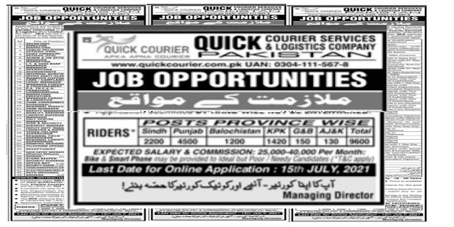 10800+Posts In Quick Courier Service Company Pakistan ! All District Of Pakistan Jobs 2021