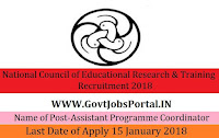National Council of Educational Research & Training Recruitment 2018 – Assistant Programme Coordinator