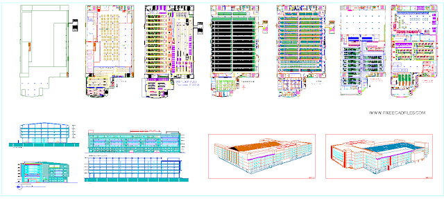 Factory Building with Elevation Details DWG