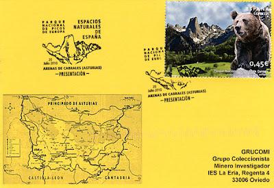 Tarjeta del GRUCOMI del matasellos PDC del sello del Parque Nacional de los Picos de Europa