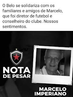 Botafogo da Paraiba emite nota de pesar pelo falecimento de Marcelo Imperiano diretor e concelheiro do Clube.