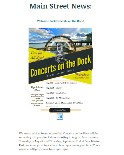 Concert on the Dock Returns