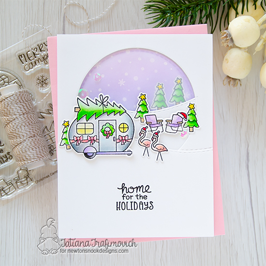 Home for the Holidays | Camper decorated for Christmas card by Tatiana Trafimovich | Christmas Campers Stamp Set, Petite Snow Stencil and Circle Frames Die Set by Newton's Nook Designs #newtonsnook #handmade