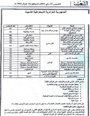إعلان عن توظـيــف بالمديرية المركزية للعتاد بالمعهد العسكري للمعايرة و التوثيق التقني 2021