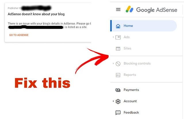 Fix 'AdSense doesn't know about your blog' and grayed out dashboard options