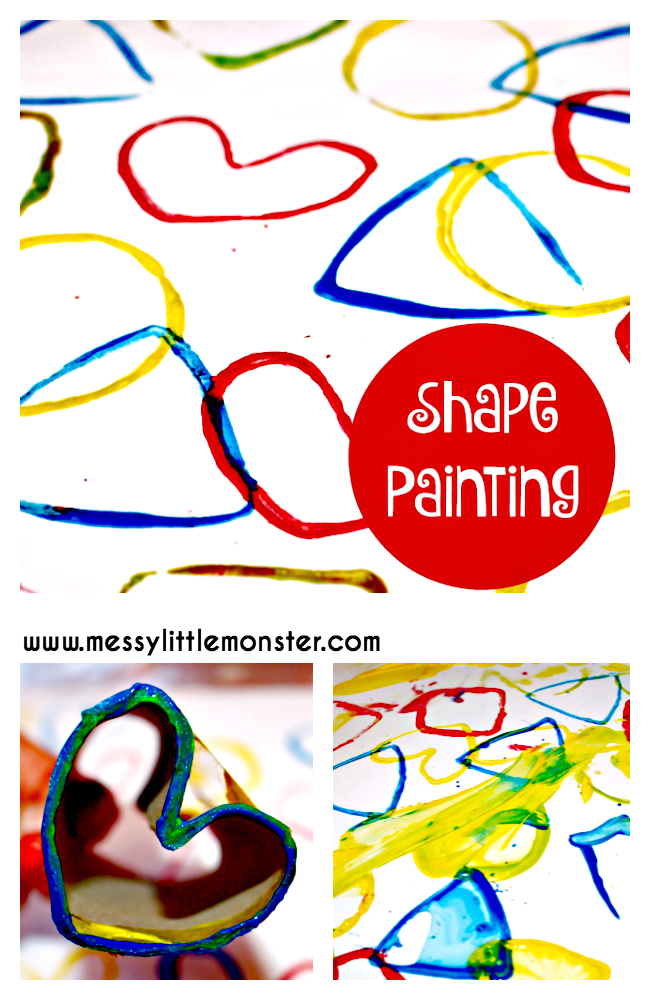 2D shape painting for toddlers. Easy shape activity to learn shapes.