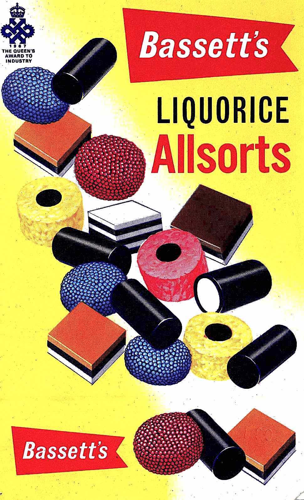 1970s British Bassett's Liquorice Allsorts candy, a color illustration
