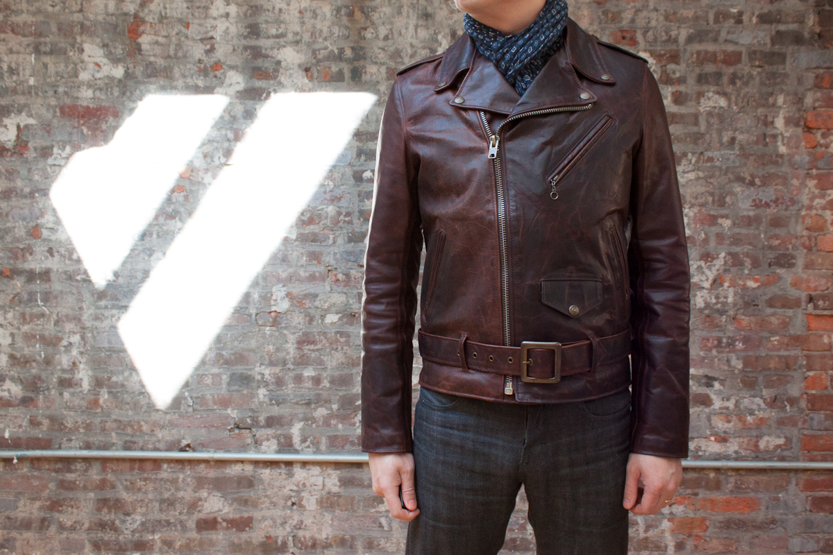 Brown naked leather jacket consider