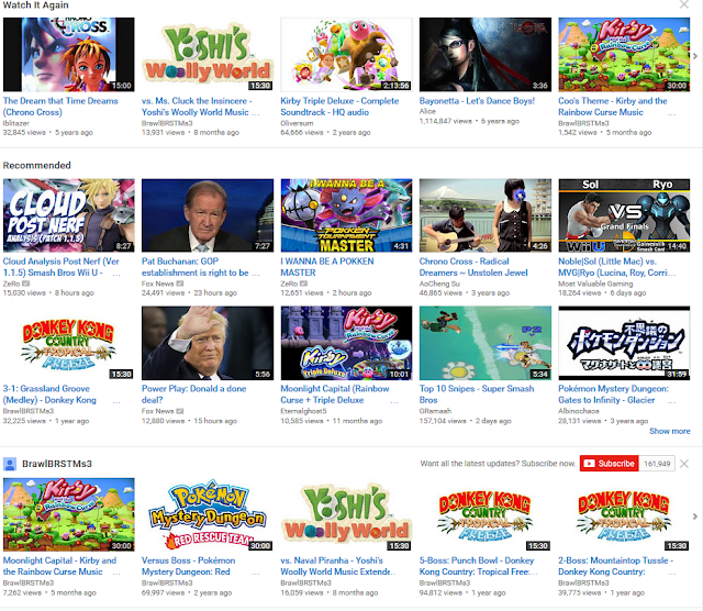 YouTube home page watch it again recommended videogame OSTs