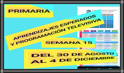 APRENDIZAJES ESPERADOS Y PROGRAMACIÓN TELEVISIVA-SEMANA 15 DEL 30 DE NOVIEMBRE AL 4  DE DICIEMBRE DEL 2020-PRIMARIA