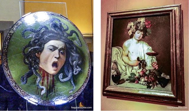 Obras de Caravaggio na Galleria degli Uffizi: Medusa, pintada em 1596, e Baco, de 1995
