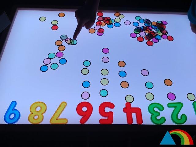 Actividad de matemáticas sobre la mesa de luz