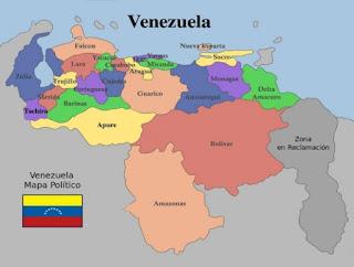 Mapa de Venezuela con la Zona en Reclamación