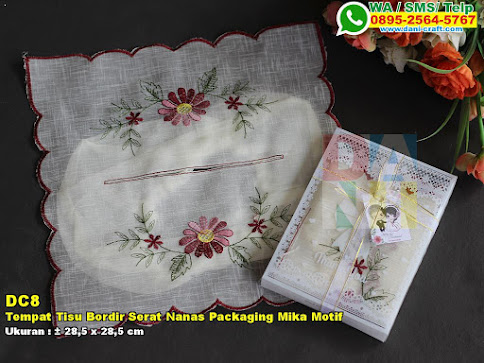 Tempat Tisu Bordir Serat Nanas Packaging Mika Motif