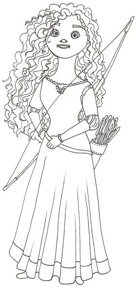 Disney Movie Princesses: Merida Coloring Pages