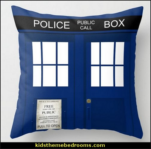 Police Phone Box Tardis Throw Pillow
