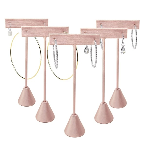 Five champagne pink earring stands each showcasing a pair of earrings