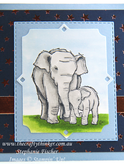 #thecraftythinker #stampinup #babycard #cardmaking #wildlyhappy #elephantcard , Baby Card, Wildly Happy, Elephant card, Stampin' Blends, Stampin' Up Australia Demonstrator, Stephanie Fischer, Sydney NSW