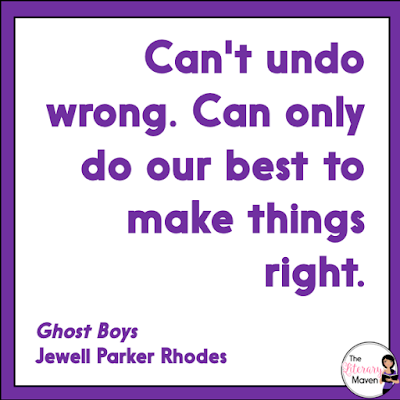 If you loved The Hate U Give, All American Boys, or Dear Martin, but don't feel that they would be appropriate for your middle school classroom, you'll want to check out Ghost Boys by Jewell Parker Rhodes, which also focuses on the shooting of a young black boy by a police officer. The relationship between the 12 year old narrator and Sarah, the 12 year old daughter of the police officer who kills him, humanizes the story. Read on for more of my review and ideas for classroom application.