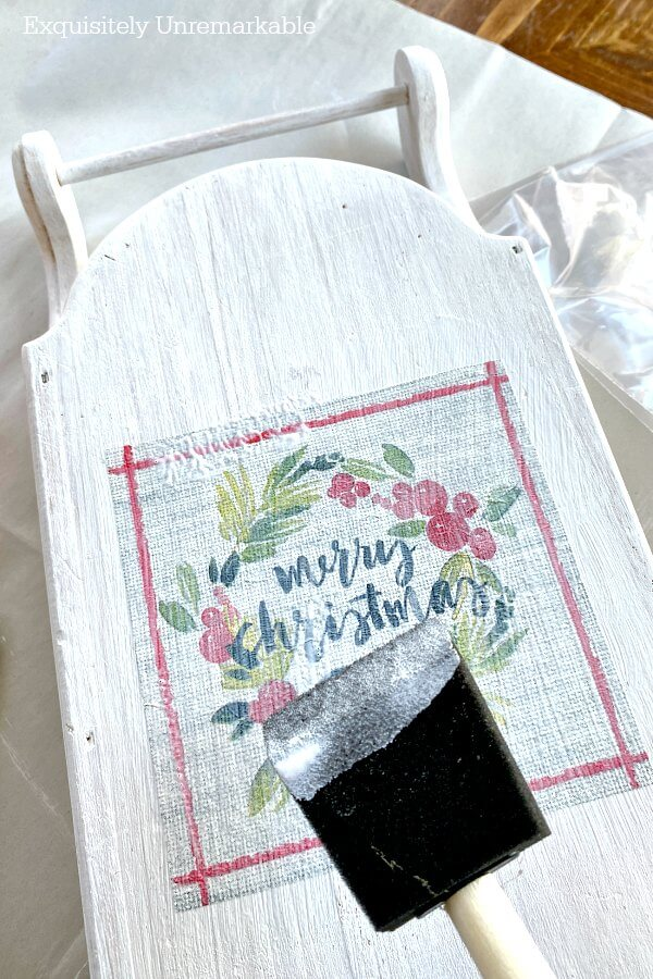 Decoupage Napkins To A Wooden Craft Sled