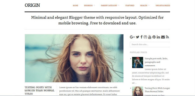 Origin - Template Blog Simple Sederhana Gratis